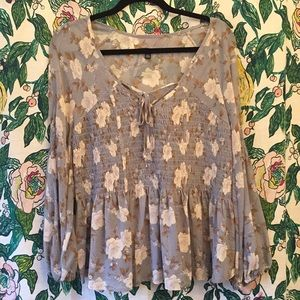 American Eagle Outfitters Floral Peplum Blouse